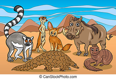 african mammals animals cartoon illustration - Cartoon...