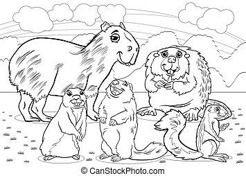 coloração, animais, caricatura, roedores, página