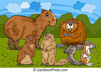 roedores, animais, caricatura, Ilustração