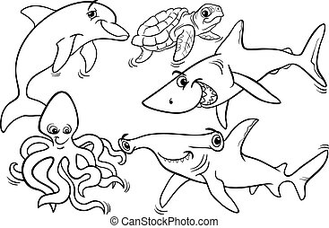 sea life animals and fish coloring page - Black and White...