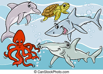 sea life animals and fish cartoon - Cartoon Illustrations of...