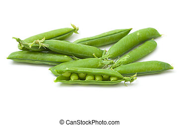 sweet fresh green peas isolated on white