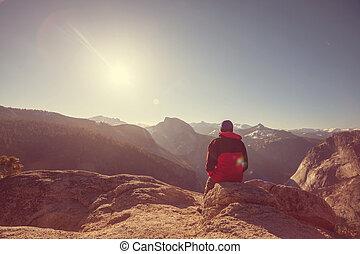 Hike in Yosemite mountains