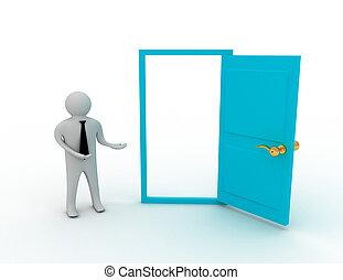 3d man and open door - 3d man and opeb door