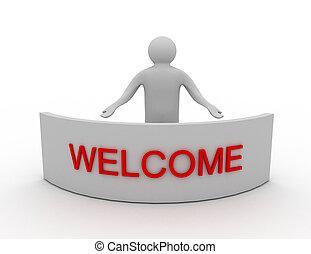 歓迎, 単語, 3D, 人