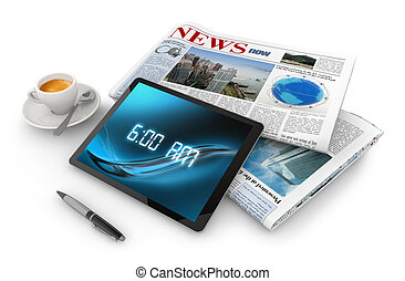 morning awakening - daily newspaper, tablet, pen and coffee...
