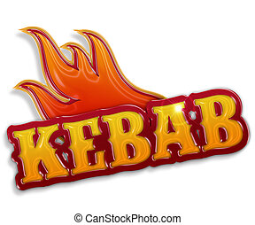 """kebab sign - glossy word """"kebab"""" isolated on white..."""