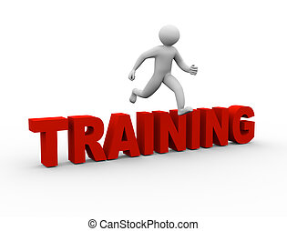 3d man jumping over training - 3d illustration of person...