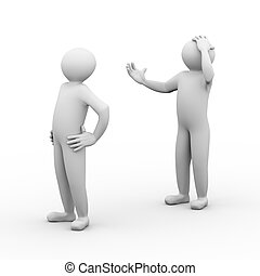 3d conflict people - 3d illustration of frustrated man...