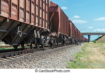 wagons of a freight train in motion go to horizon under...
