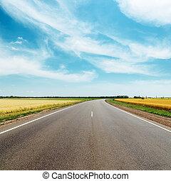 asphalt road to horizon between golden fields under blue sky...