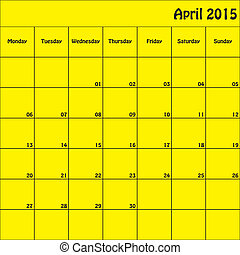 April 2015 Planner Square Customizable