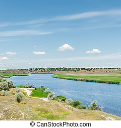 river under blue sky with clouds