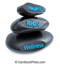wellness centre - three black stones in equilibrium on white...