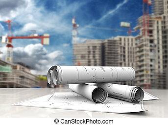 construction blueprints - technical blueprints on white...