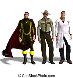 three different outfits: Hero, Policeman, Doc - same man in...