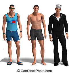 três, diferente, outfits:, Surfista, nadador,...