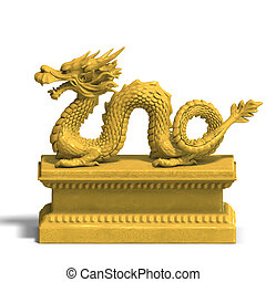 a golden chinese dragon statue with cliping path over white...
