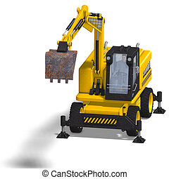 wheel excavator - rendering of a wheel excavator with...