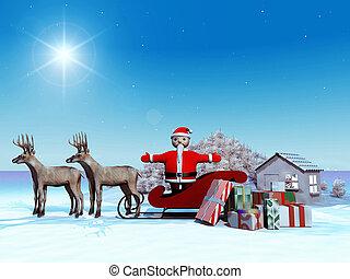 Santa Claus on his sleigh
