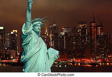 The Statue of Liberty and New York City