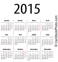 French Solid Calendar grid for 2015 - French Calendar grid...