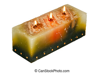 Large Rectangular Candle with Three Lighted Wicks - large...