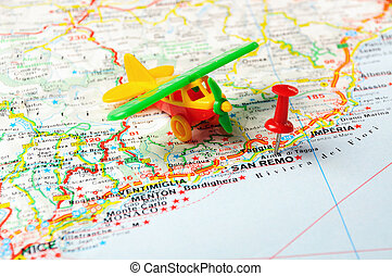 San Remo ,Italy map airport - Red push pin pointing at San...