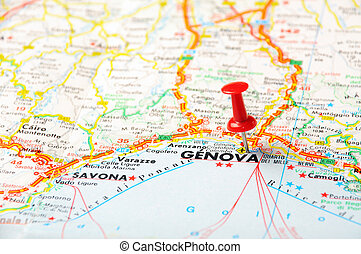 Genova,Italy map - Red push pin pointing at Genova(Genua)...