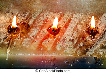 Three Burning Wicks on Large Rectangular Candle - three...