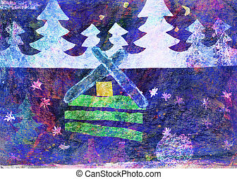House at night in the wood drawing