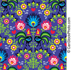 Seamless Polish folk art pattern - Repetitive colorful...