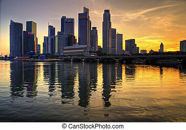 Singapore CBD at Sunset - Singapore\'s CBD on a sunday...