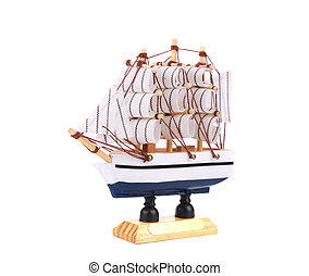 Boat model. Small wooden ship. Isolated on a white...