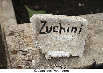 Zuchini handmade garden sign - The word Zuchini written on a...