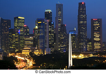 Singapore CBD - In the foreground is the War Memorial