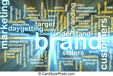 Brand marketing wordcloud glowing - Word cloud tags concept...