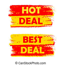 hot and best deal, yellow and red drawn labels - hot and...
