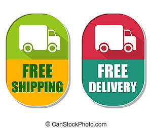 free shipping and delivery with truck sign, two elliptical...