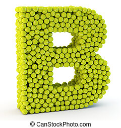 3D letter B made from tennis balls