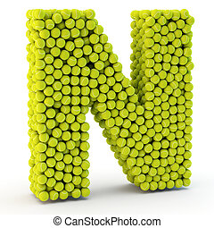3D letter N made from tennis balls