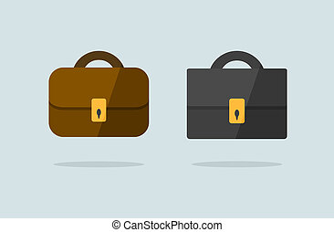 Print - Two briefcase icons flat vector design brown and...