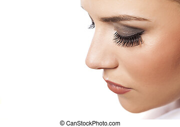 false eyelashes - portrait of young beautiful woman with...