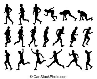 big set of men running silhouettes - big set of black...