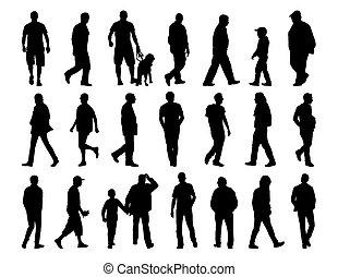 big set of men walking silhouettes - big set of black...