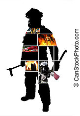 Firefighter scenes with a Silhouette of a posing firefighter...