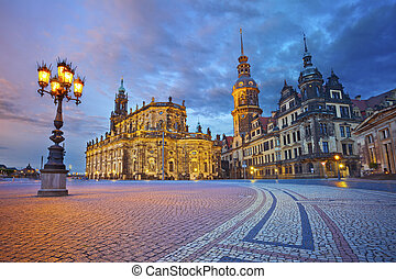 Dresden - Image of Dresden, Germany during twilight blue...