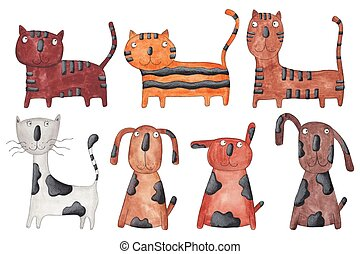 Cats and dogs - Artistic work. Watercolors on paper