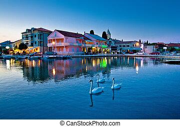 Adriatic village of Sukosan waterfront evening view,...