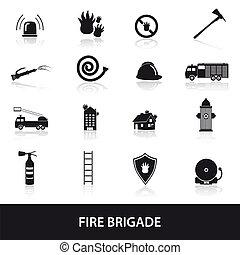 fire brigade icons set eps10
